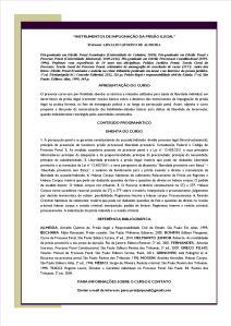 Programa e conteúdo INSTRUMENTOS DE IMPUGNAÇÃO DA PRISÃO ILEGAL - CARTAZ